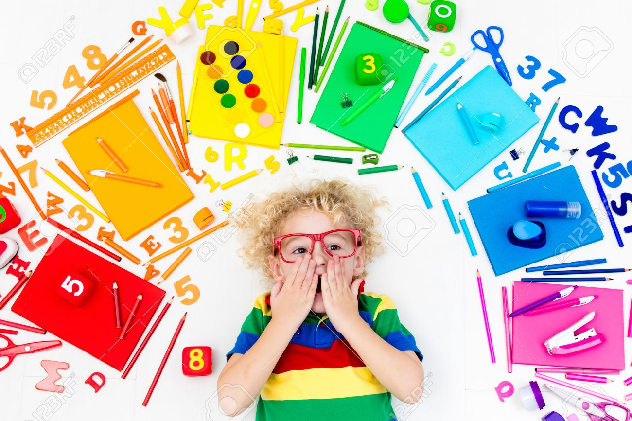 Little Boy With School Supplies, Books, Drawing And Painting.. Stock ...