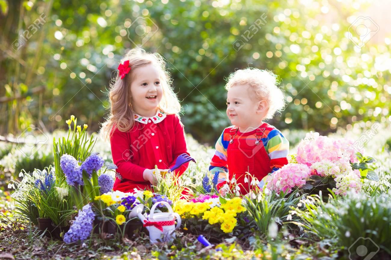 Children Planting Spring Flowers In Sunny Garden Little Boy Stock