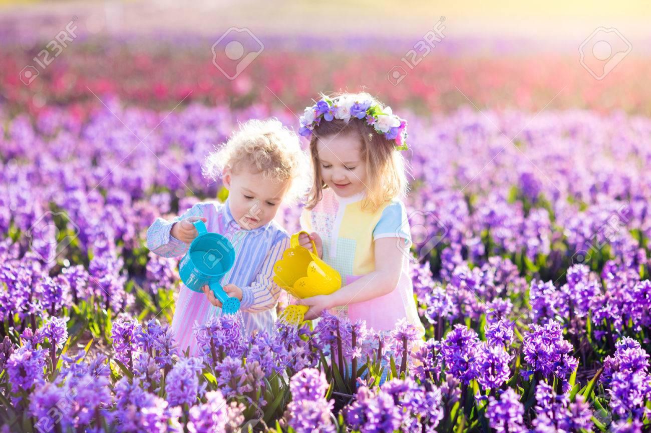 kinder zu pflanzen frühlingsblumen im sonnigen garten. lizenzfreie
