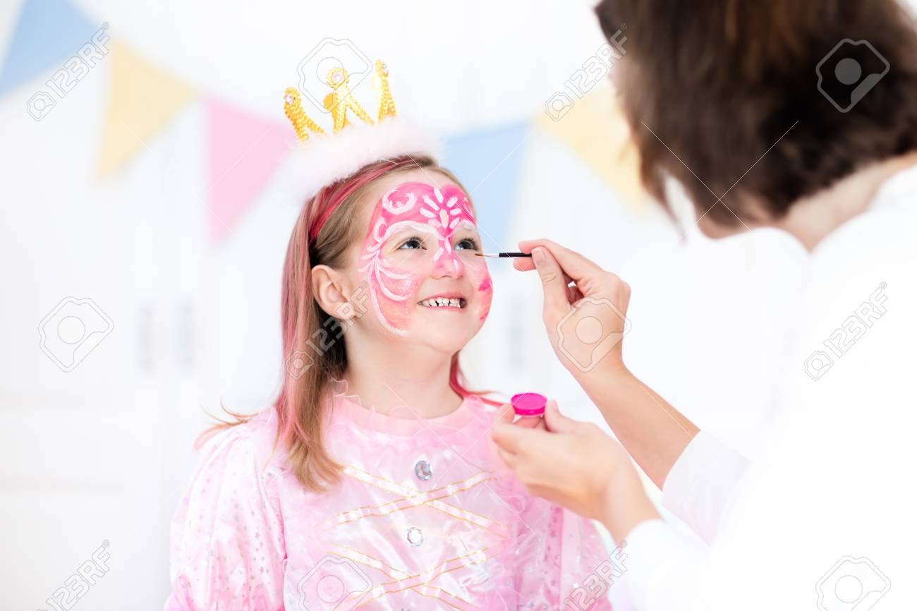 Face Painting For Little Girl. Princess And Fairy Theme Birthday ...