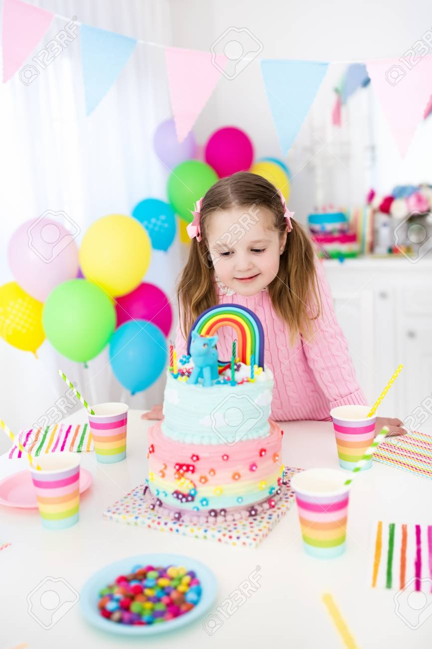 Kids Birthday Party With Colorful Pastel Decoration And Unicorn