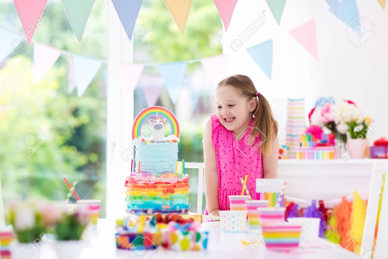 Kids Birthday Party With Colorful Pastel Decoration And Unicorn Rainbow Cake Little Girl Sweets
