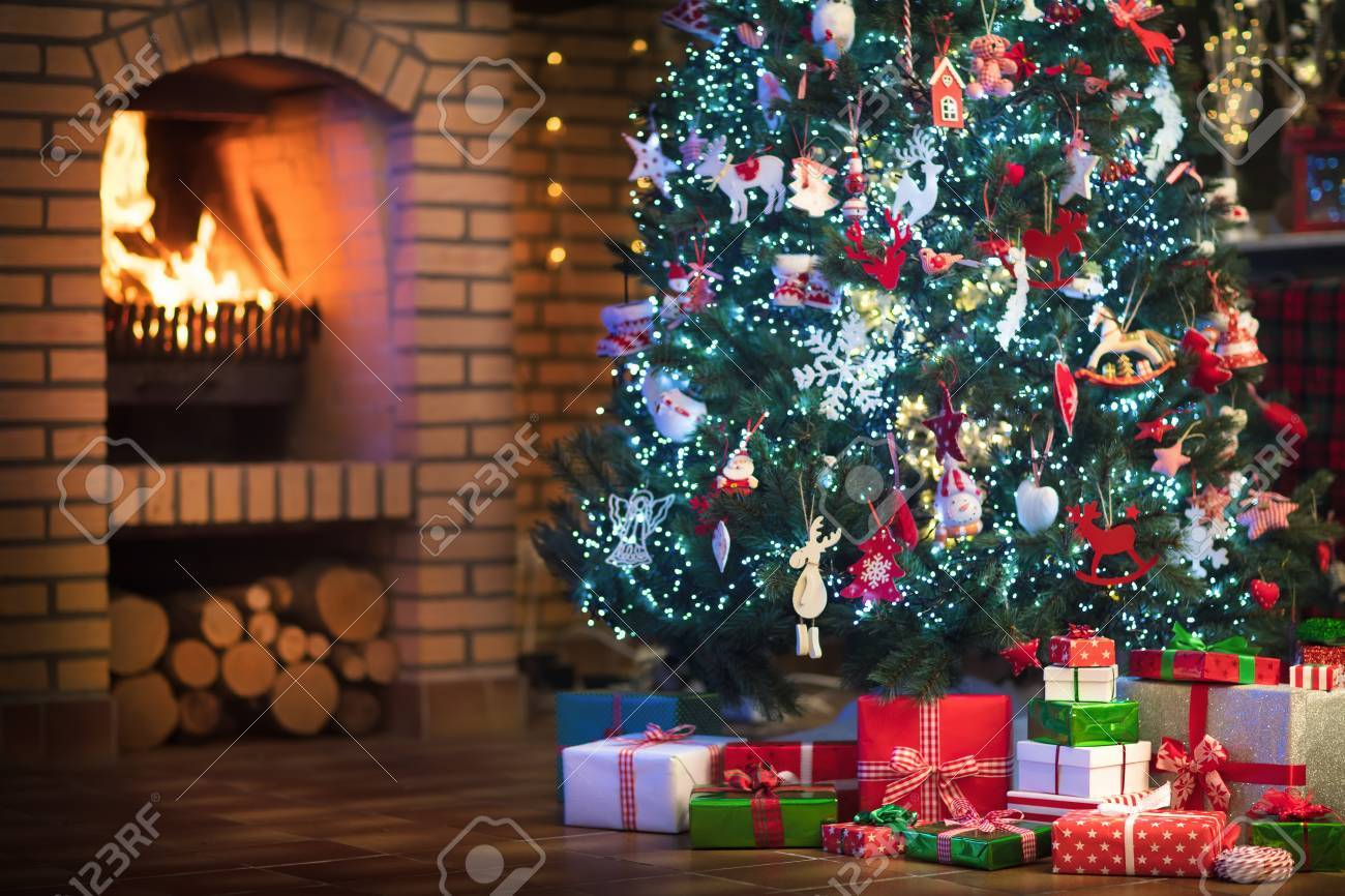 Christmas Home Interior With Tree And Fireplace Traditional Stock