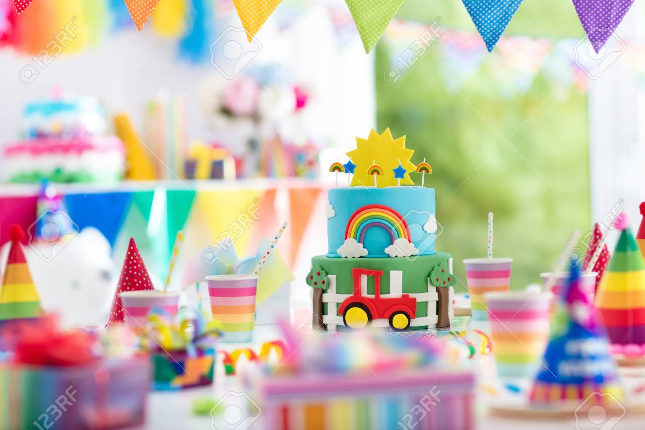 Kids Birthday Party Decoration Colorful Cake With Candles Farm And Transportation Theme Boys