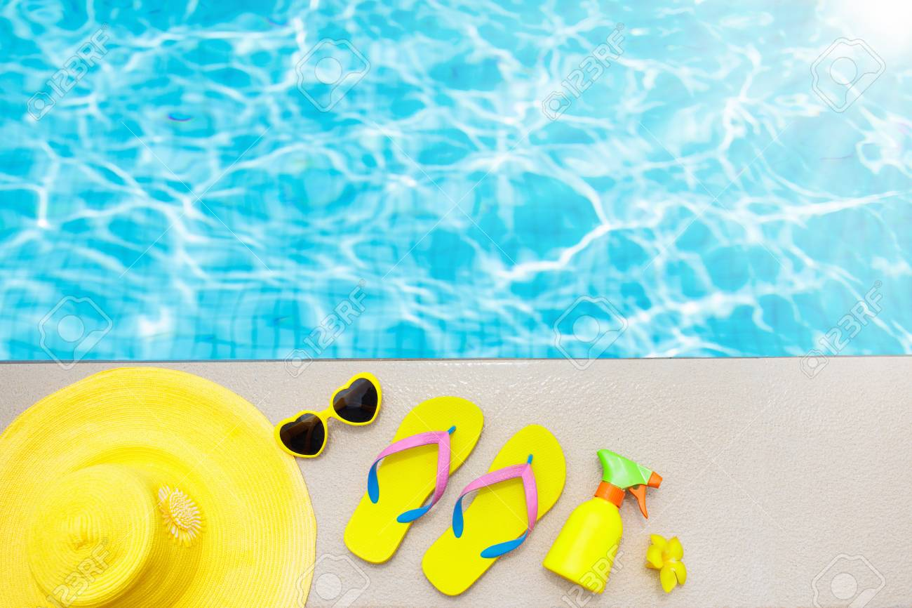 Swimming Pool Accessories Flat Lay. Top View Of Beach Items On ...