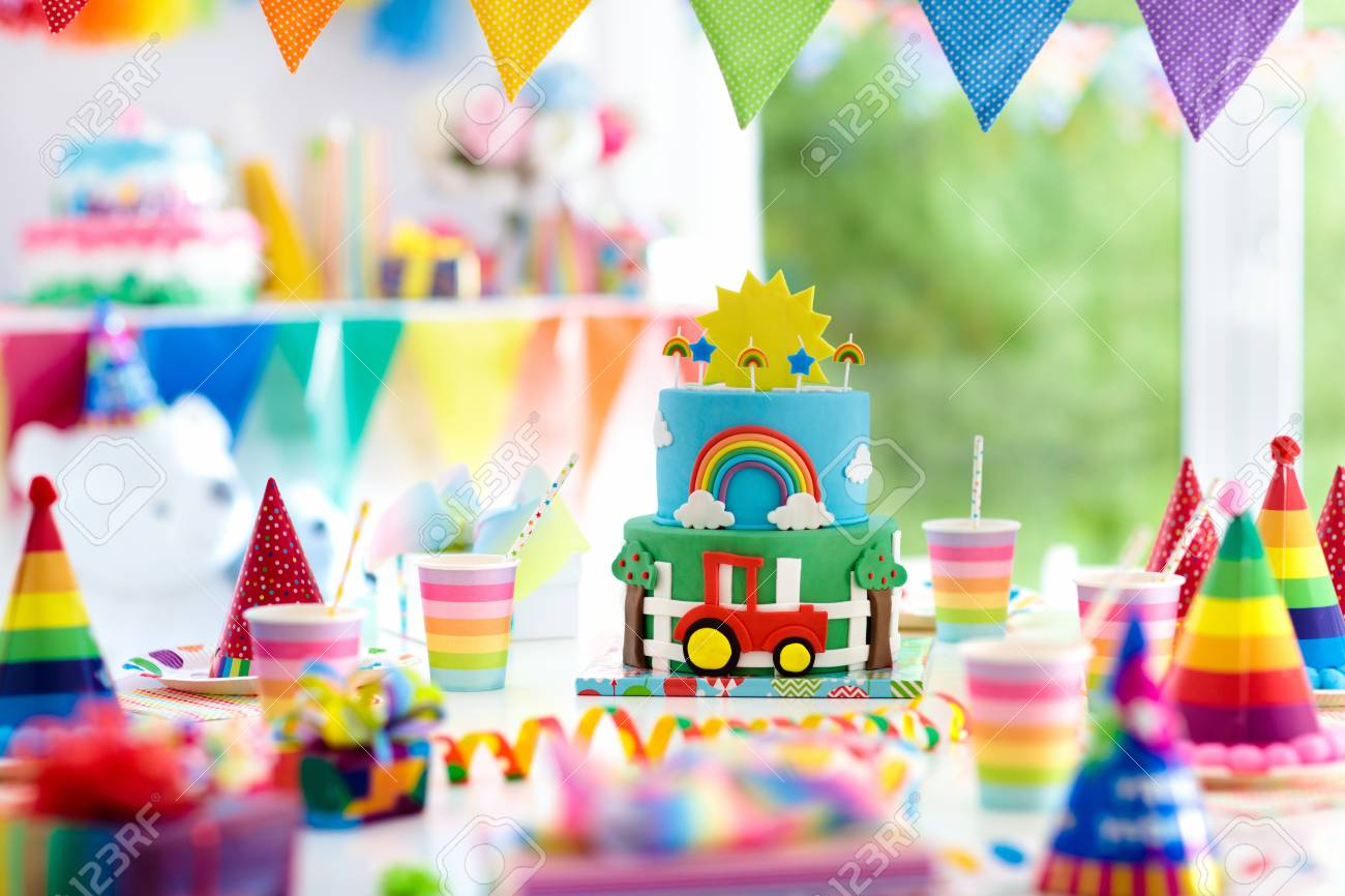Kids Birthday Party Decoration Colorful Cake With Candles Farm