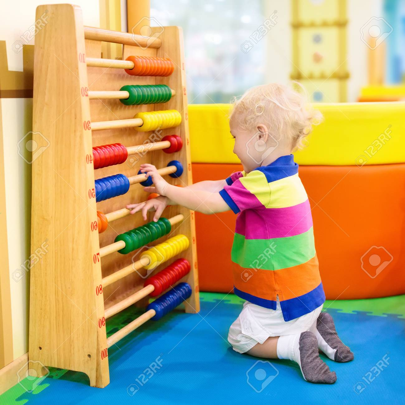 Child Playing With Wooden Abacus Educational Toys For Kids Stock Photo Picture And Royalty Free Image Image 95961587