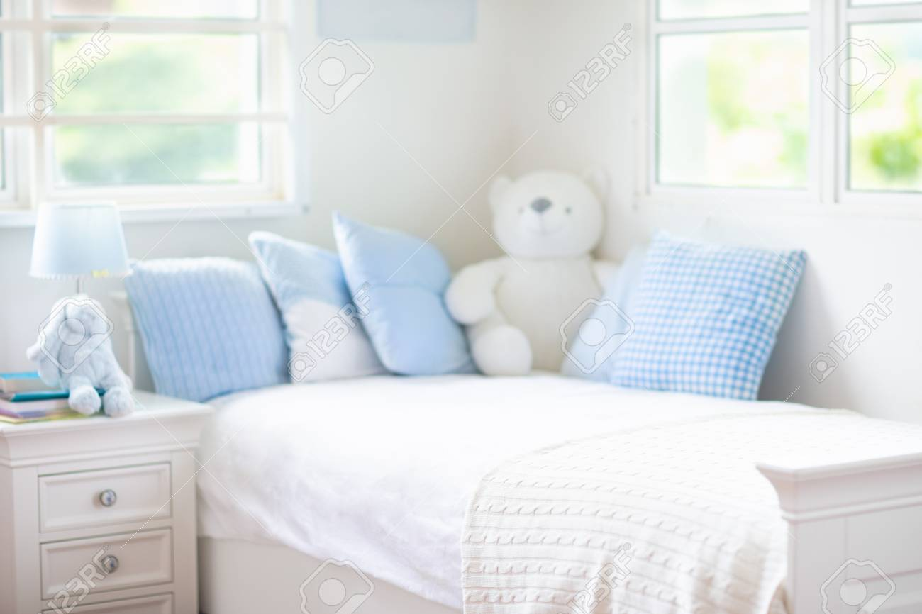Kids Bed In White Sunny Bedroom With Window Children Room And