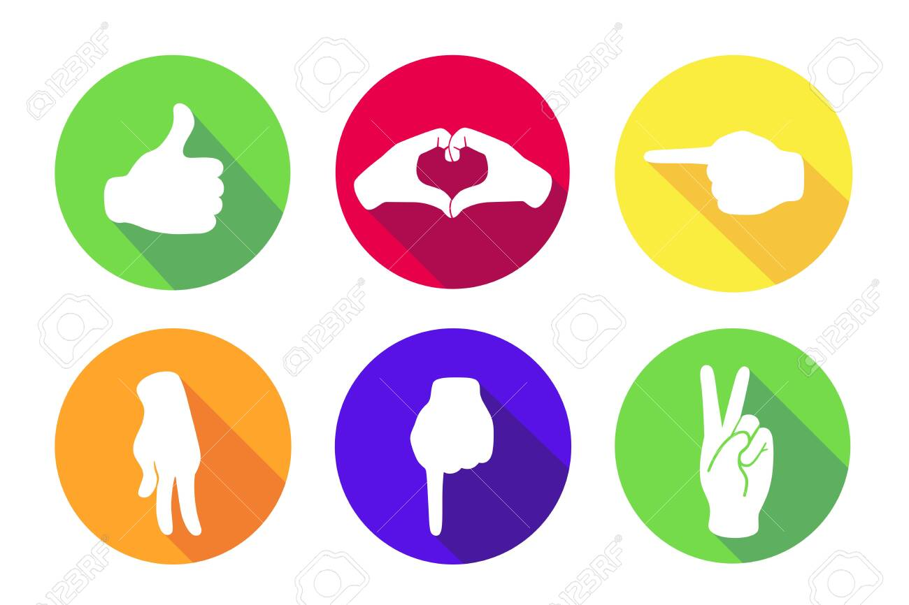Vector flat set of six icons. Sign with hand.Communication symbol.White hand with gesture on green, red, yellow, orange, blue round background isolated on white.Web button. Mood sticker. - 151437028