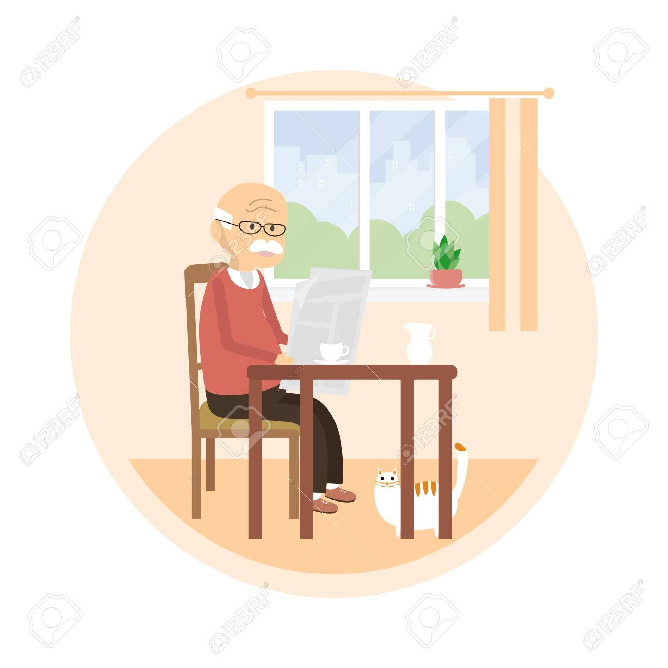 先輩の椅子に座って新聞を読みます老人はミルクティーを飲みます