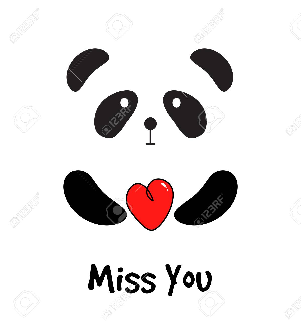 Cute Panda With Red Heart Miss You Card Royalty Free Cliparts