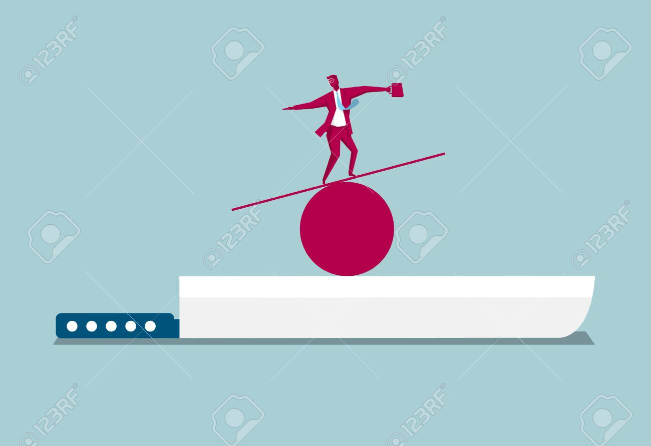 Businessman balancing on a wooden plank above a knife on blue background. - 125957154