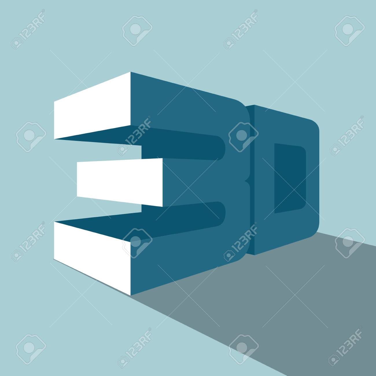 3D symbol. Isolated on blue background. - 128104911
