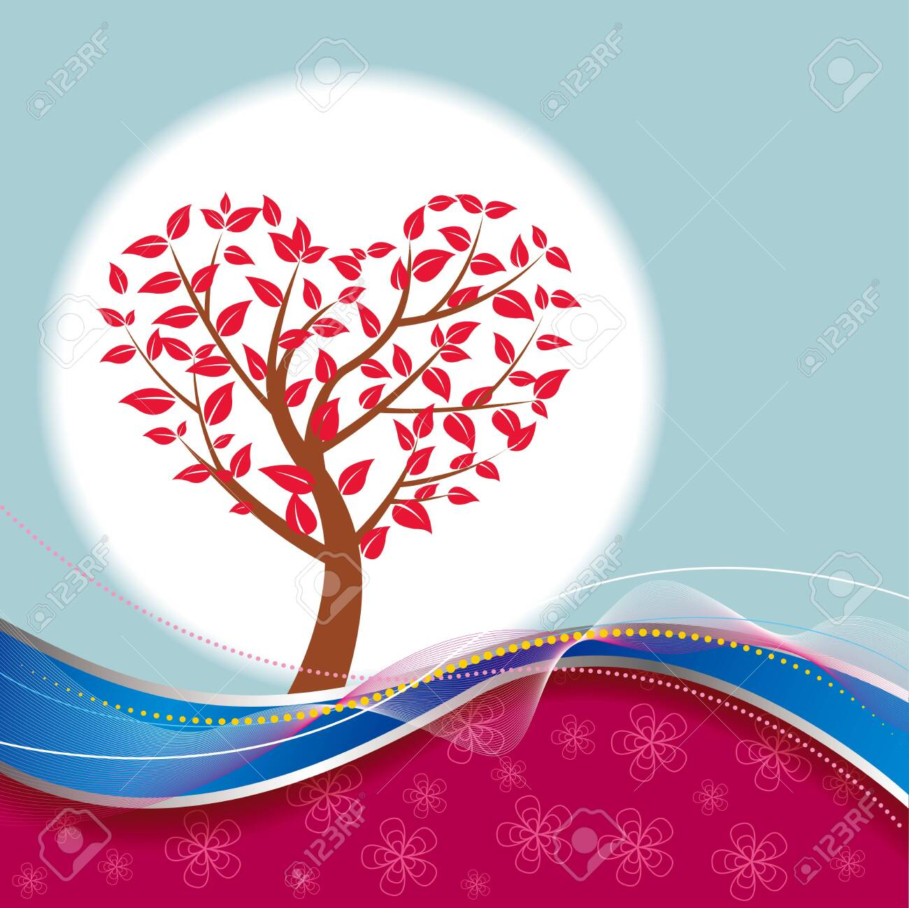 Heart shaped tree. Abstract background design. - 131417597