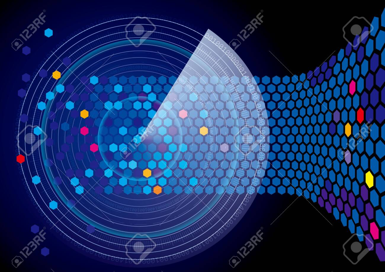 Search the scanning system. Blue radar design. - 131432208