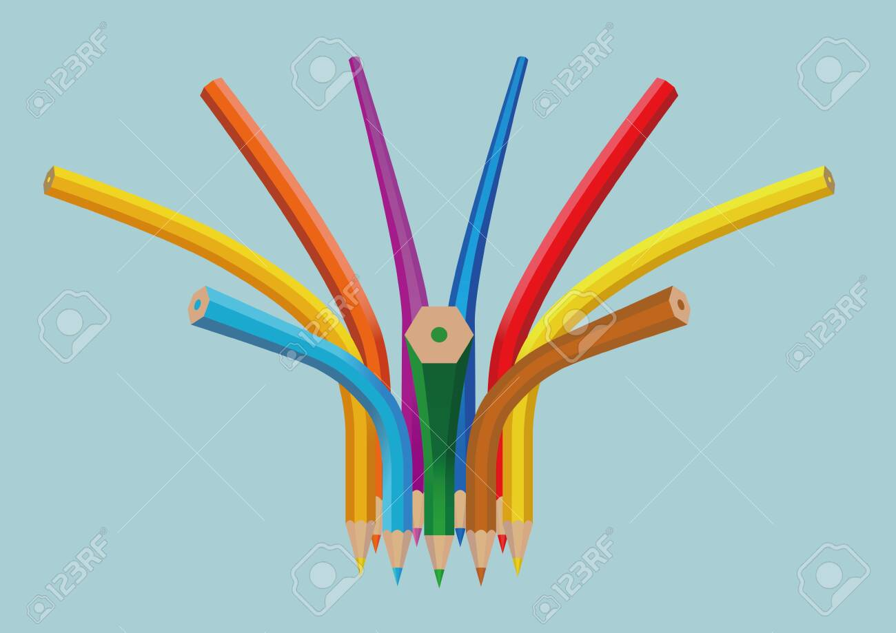 The creativity of the pencil isolated on blue background. - 131434900