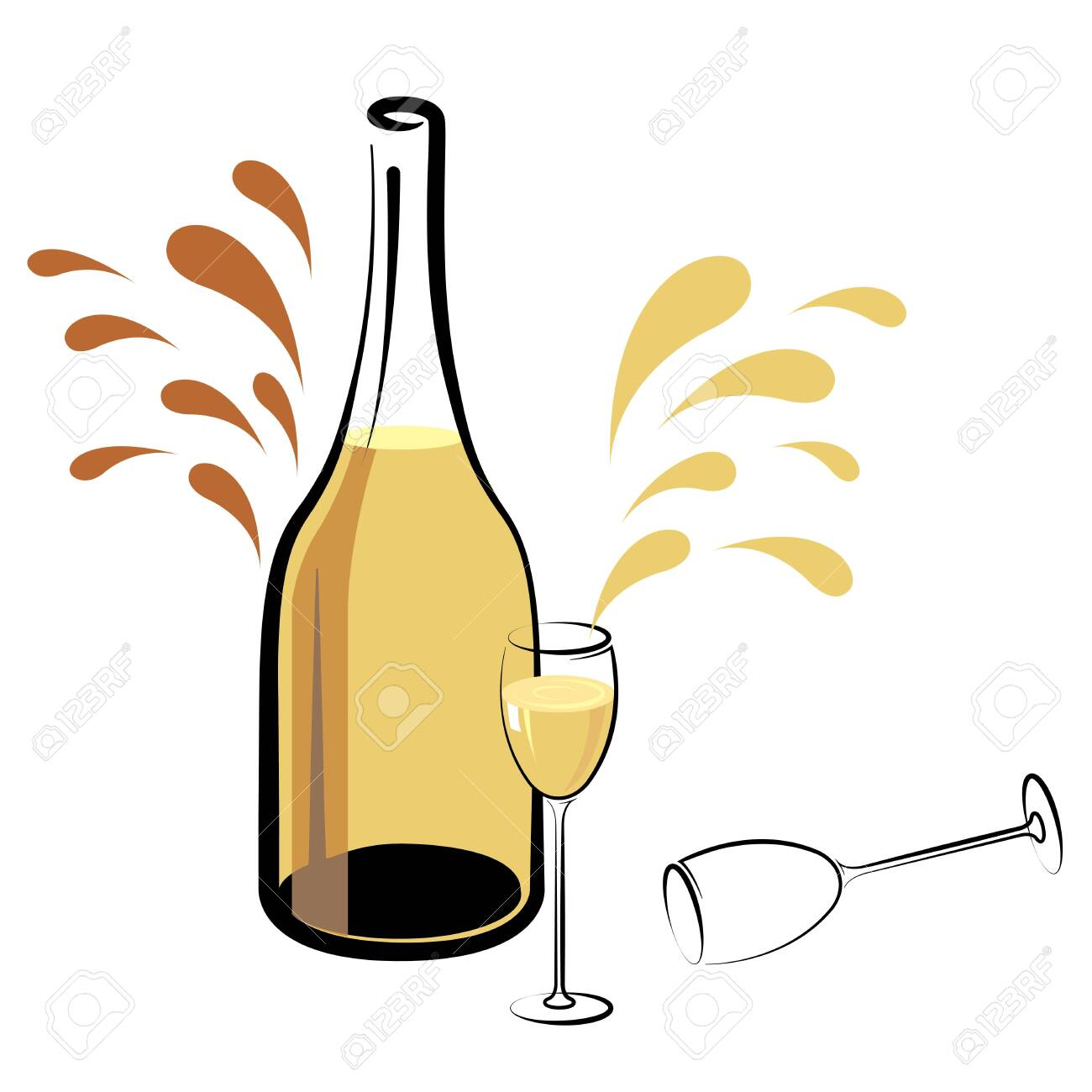 champagne isolated on white background. - 131437407