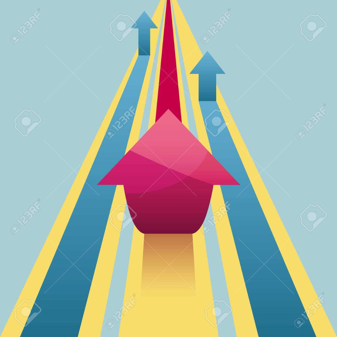 Creative design of the arrow isolated on blue background. - 131437426