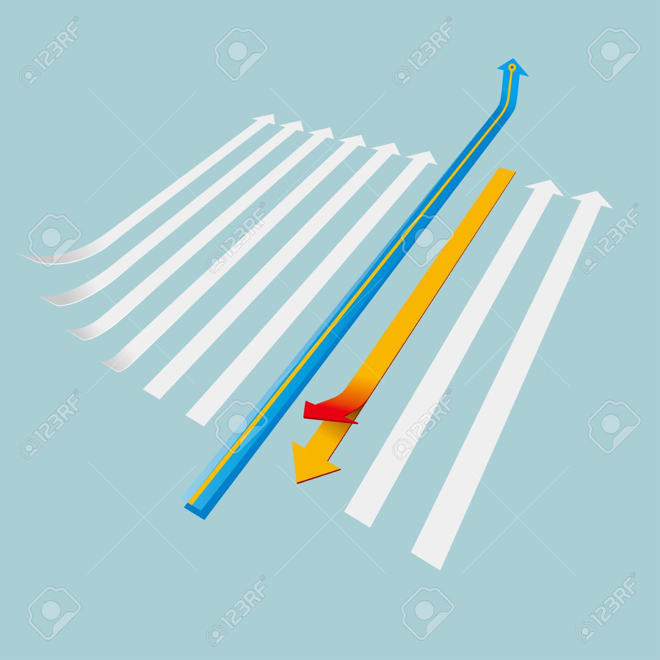 Creative design of the arrow. Isolated on blue background. - 131437711