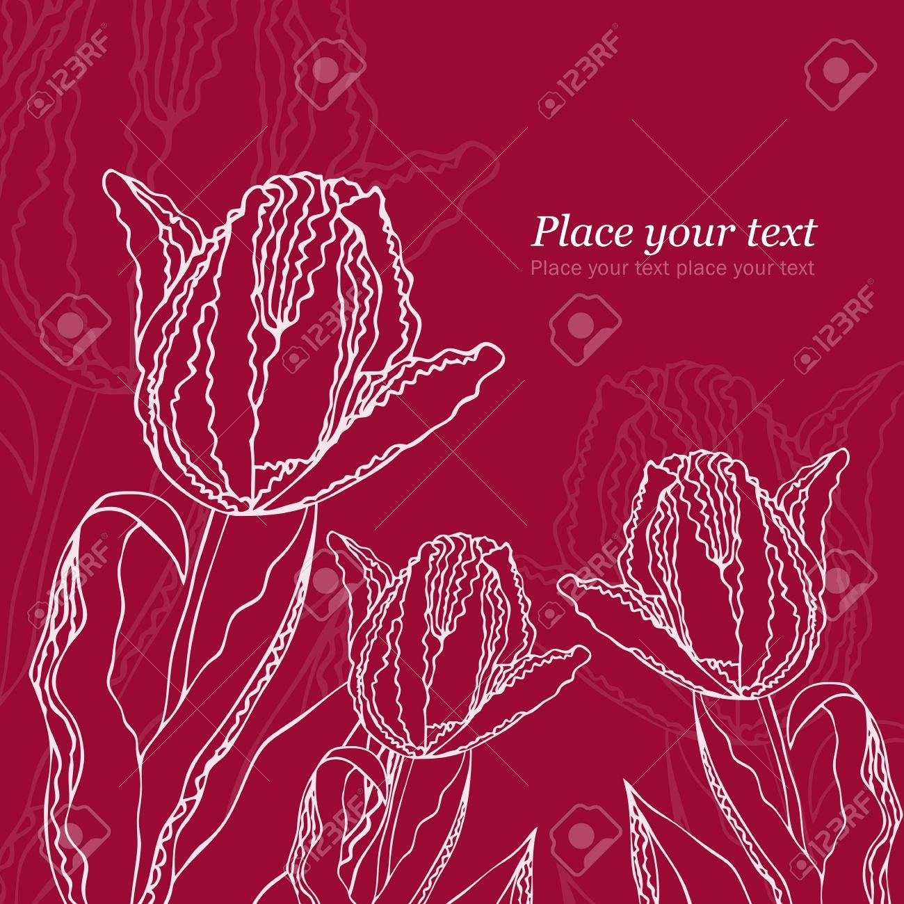 Background with tulips and text Stock Vector - 12470048