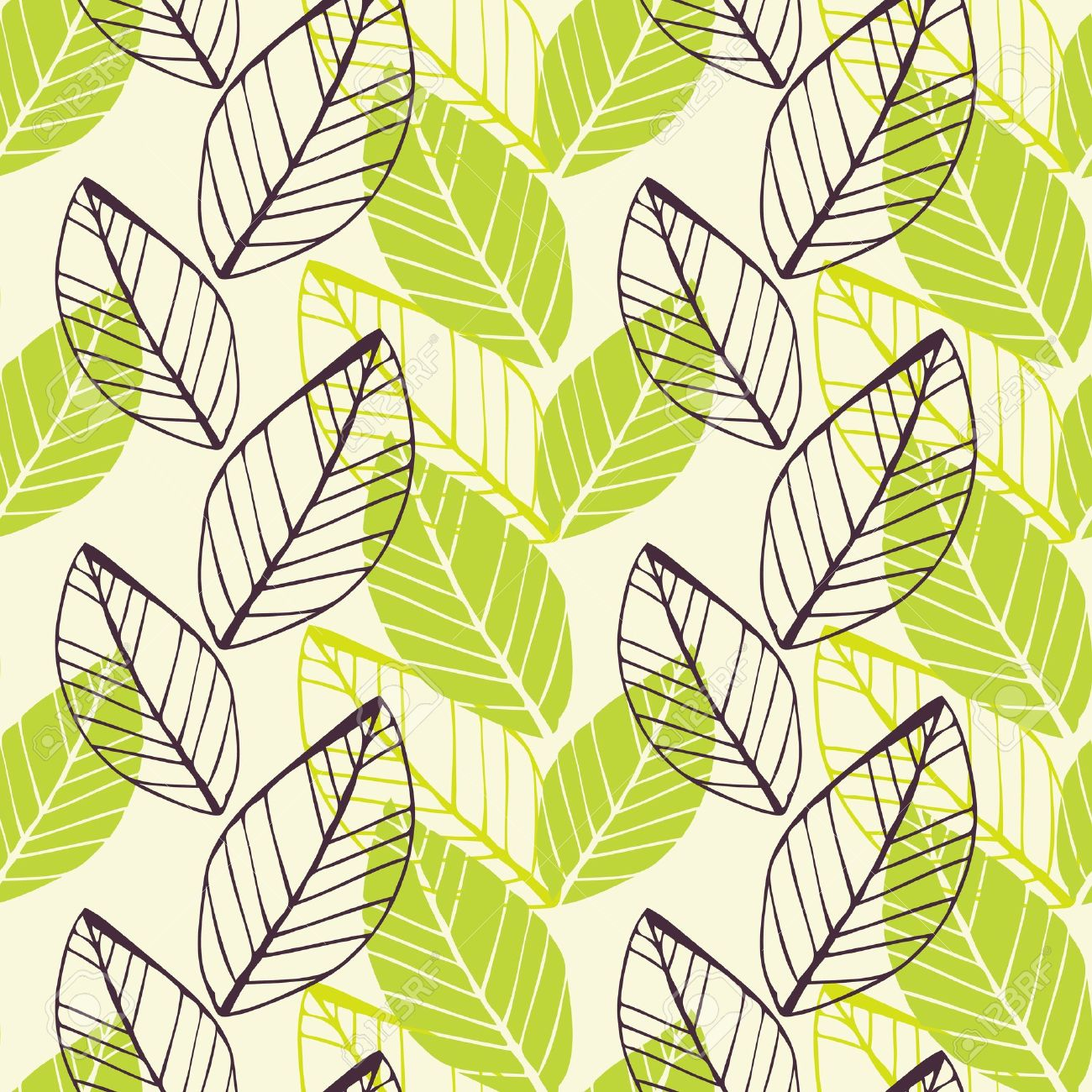 Vector seamless background with spring hand-drawn leafs Stock Vector - 12470075