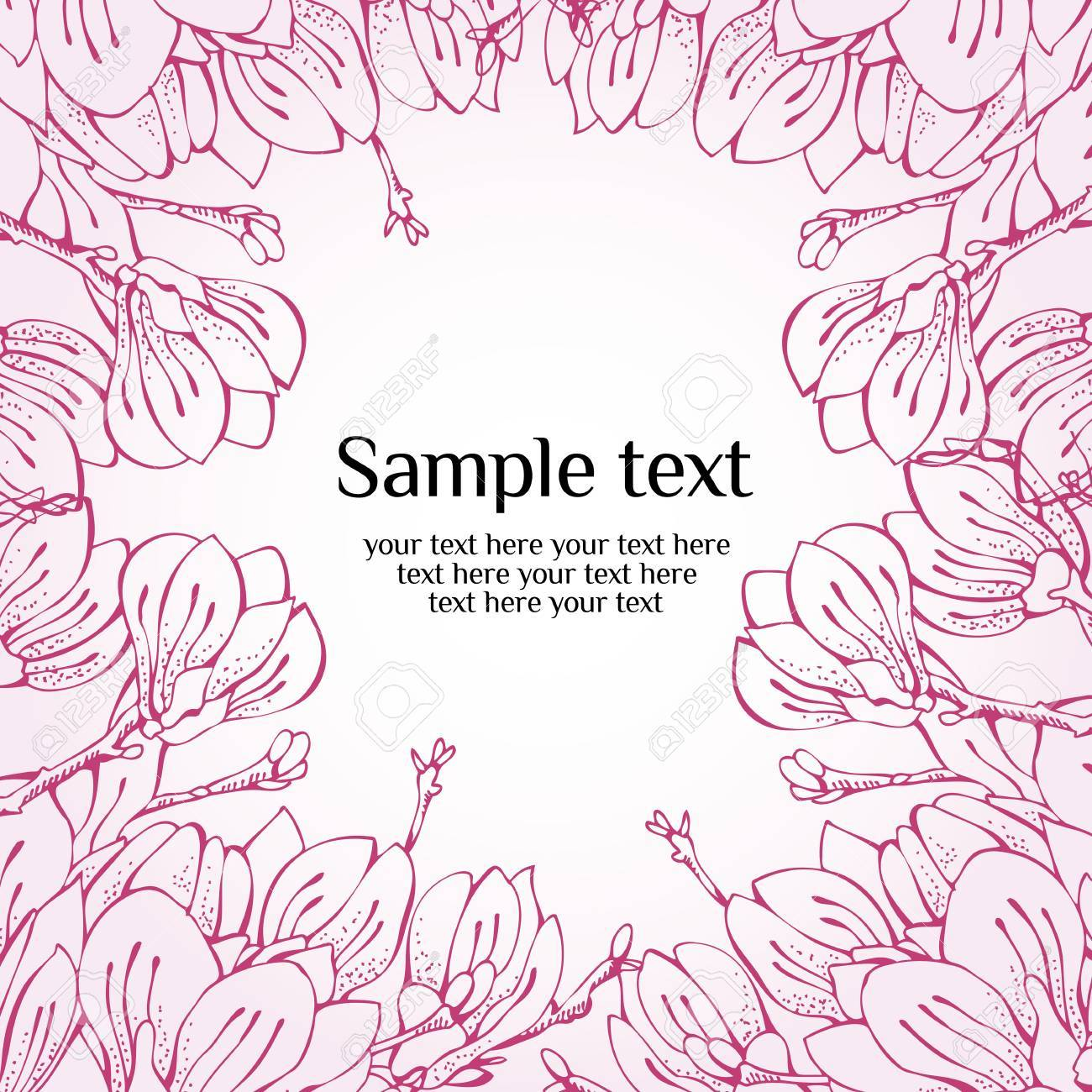 Flower spring greetings card with hand drawn magnolia Stock Vector - 13075006