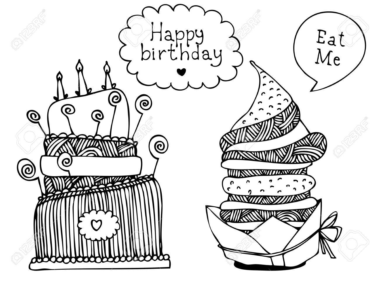 Illustration of sweet hand drawn cakes with frames Stock Vector - 13075002