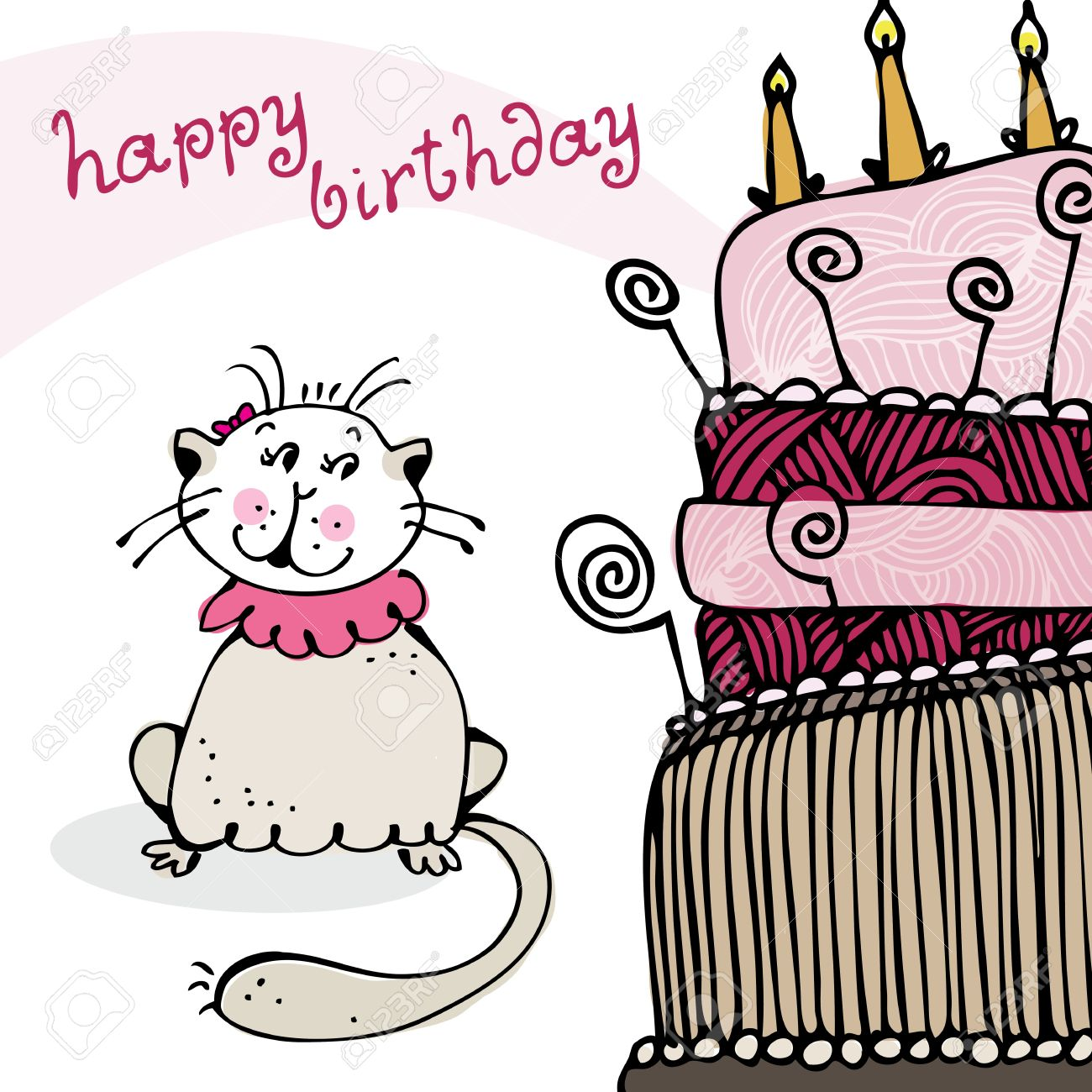 Birthday Card With Happy Cat And Cake Stock Vector