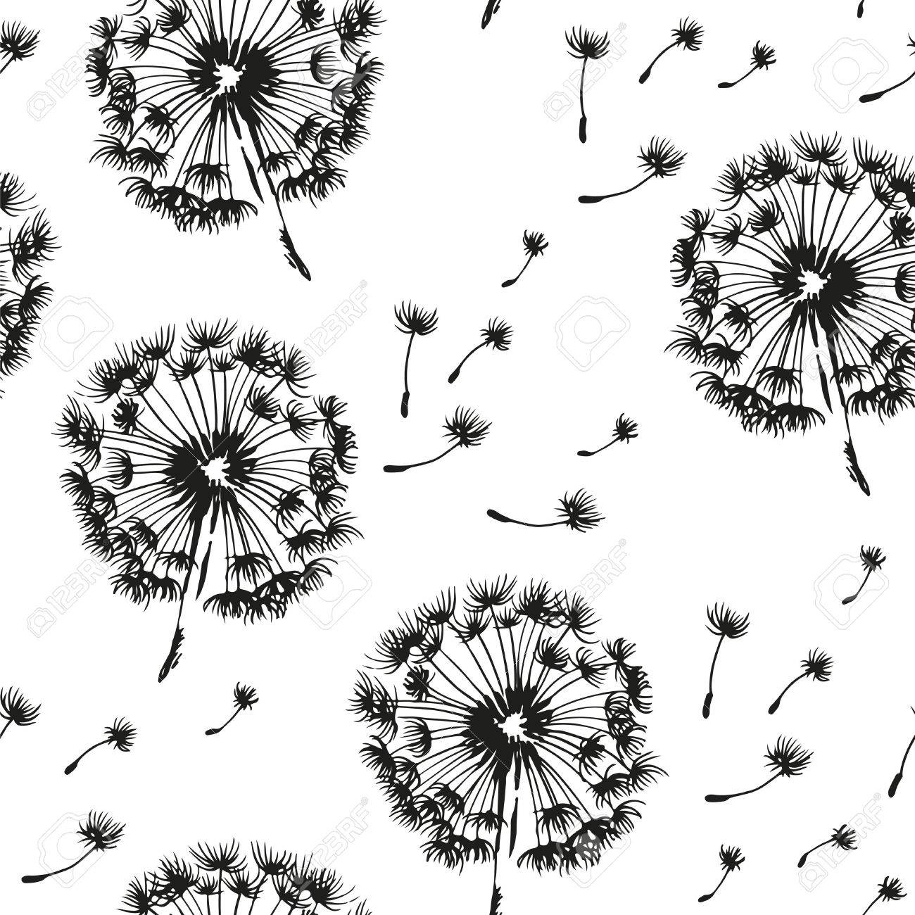 Dandelion and seeds blowing in the wind seamless pattern, vector black and white background - 62842853