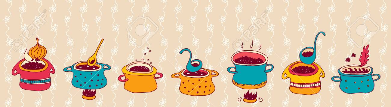 Cooking Pots Vector Set Isolated On Beige Floral Background Royalty Free Cliparts Vectors And Stock Illustration Image 148718861