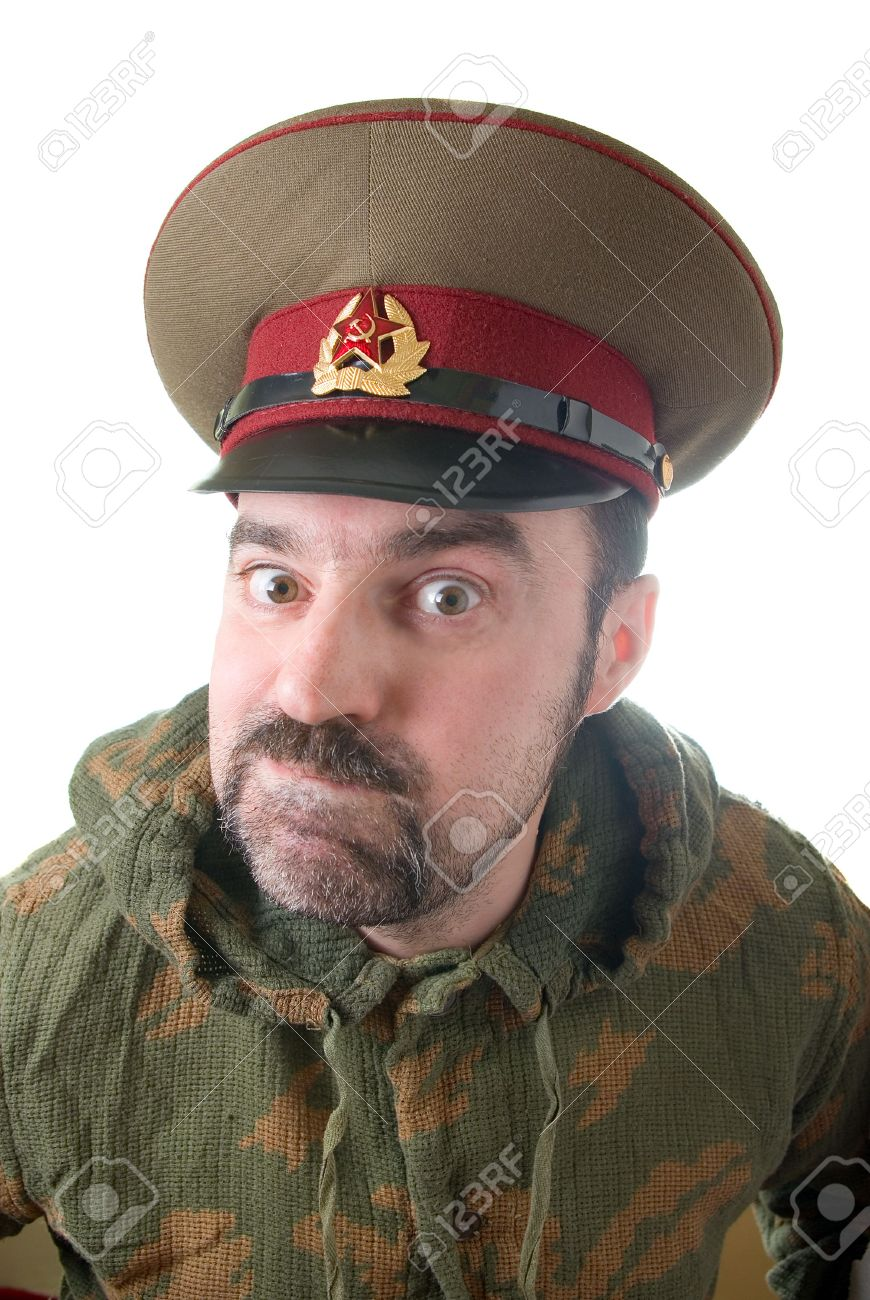 The soldier in the Russian military form. Russian military threat. The Soviet army Stock Photo - 3140181