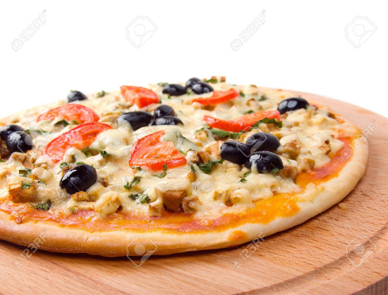 home pizza with tomato and eggplant  Closeup Stock Photo - 5779740