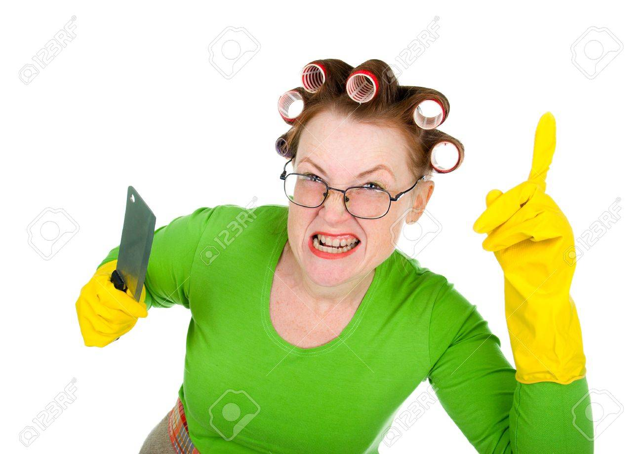 White apron green thumb - Apron Angry Angry Crazy Housewife With Knife White Background