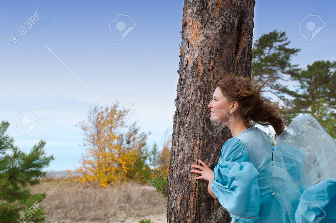 Very beautiful girl in medieval dress. strong wind Stock Photo - 8167126