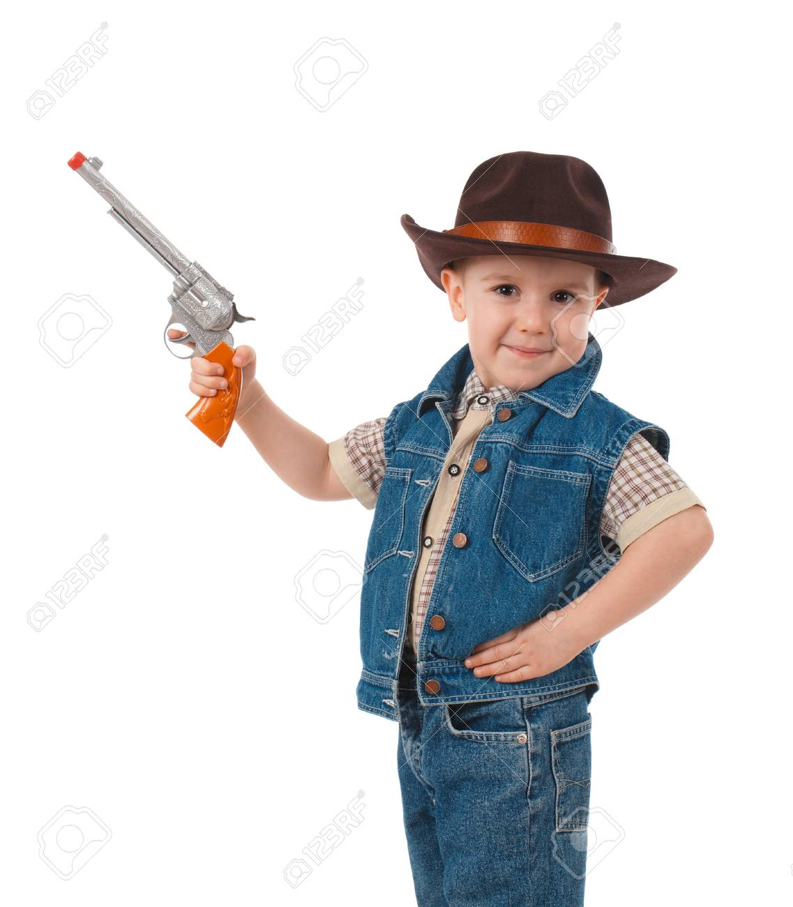 ee107e5dbd0f8 little boy wearing a cowboy hat a over white background Stock Photo -  9580504
