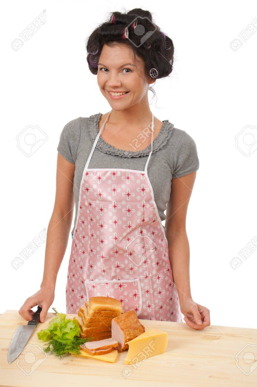 White apron ladies - Beautiful Cooking Woman In Apron With Sandwich Studio White Background Stock Photo