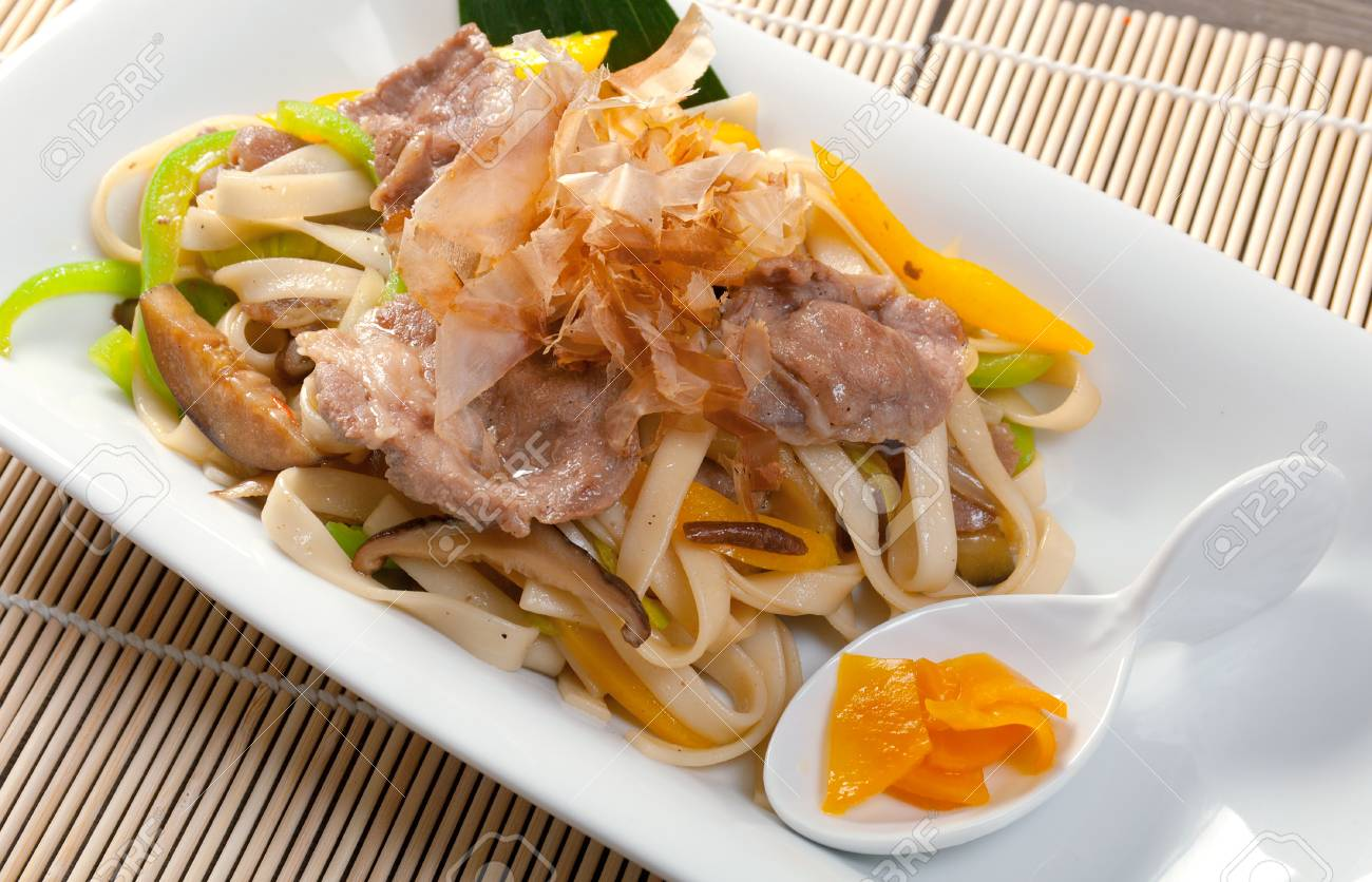 Japanese cuisine .noodles with meat and eggplant Stock Photo - 10421410