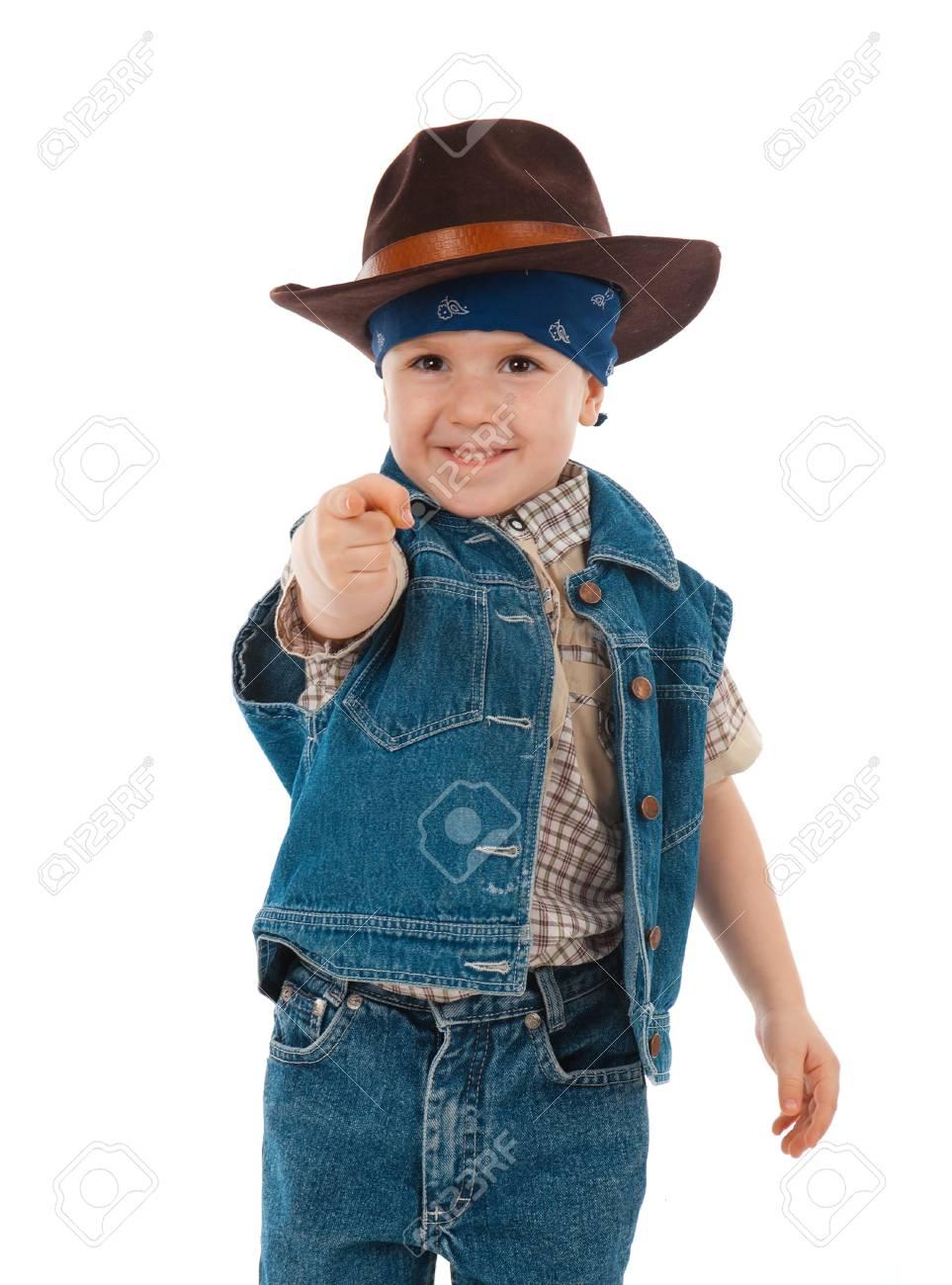 6b7becda5e1c5 little boy wearing a cowboy hat a over white background Stock Photo -  10474324