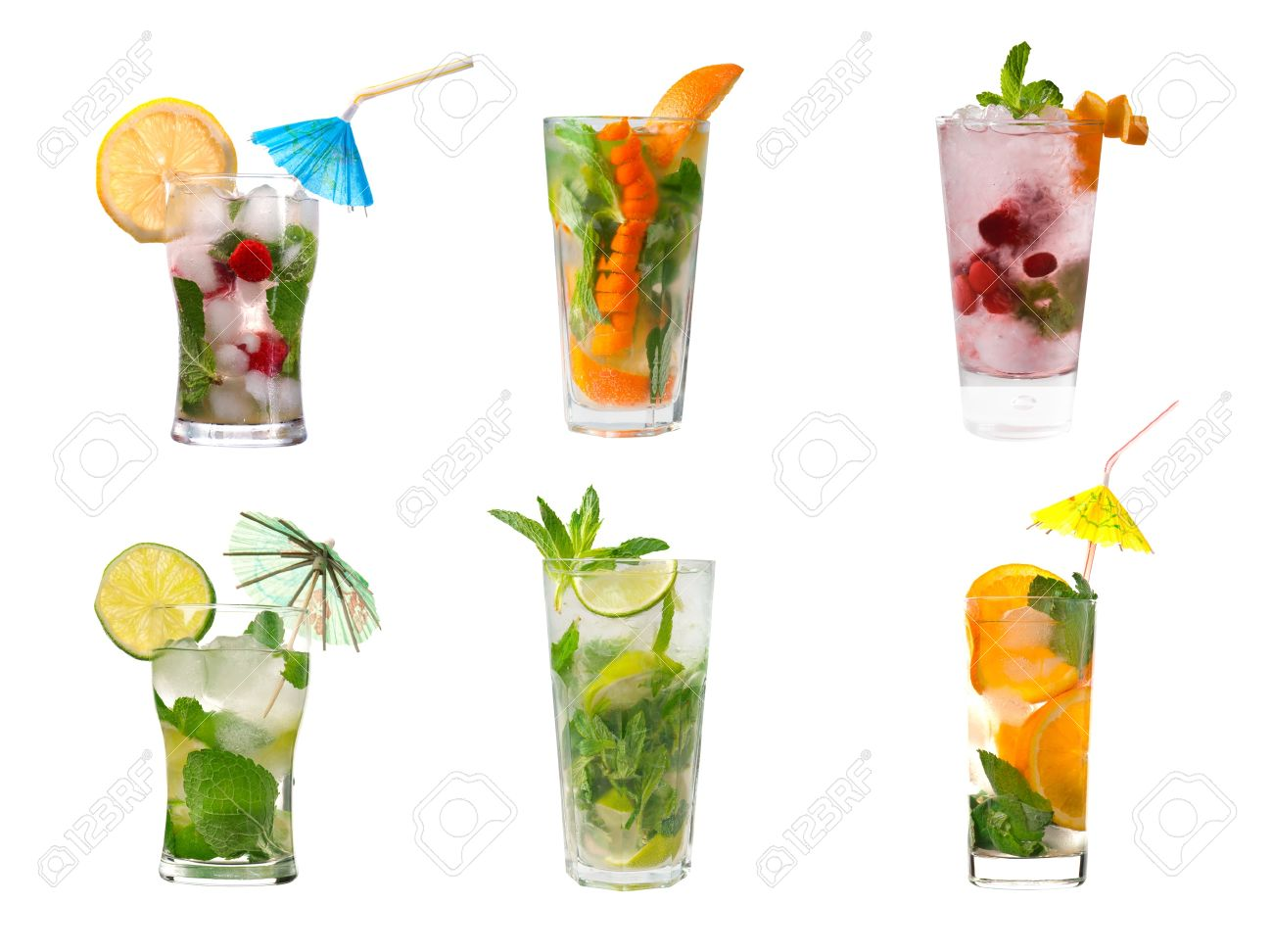 collection mojito  Alcoholic cocktails .isolated on white background. Stock Photo - 11239929