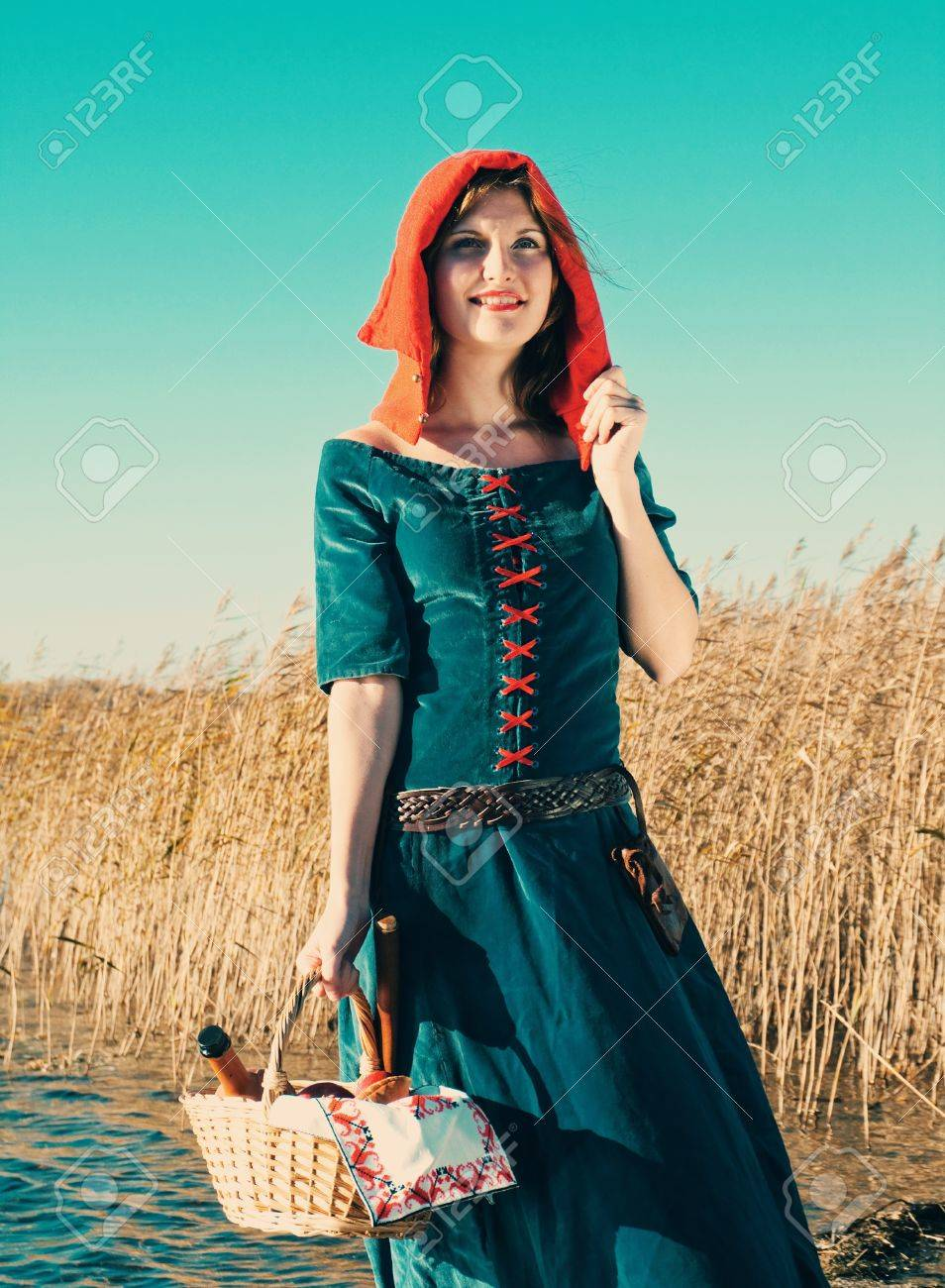 red Riding  hood.beautiful girl in medieval dress Stock Photo - 12154742