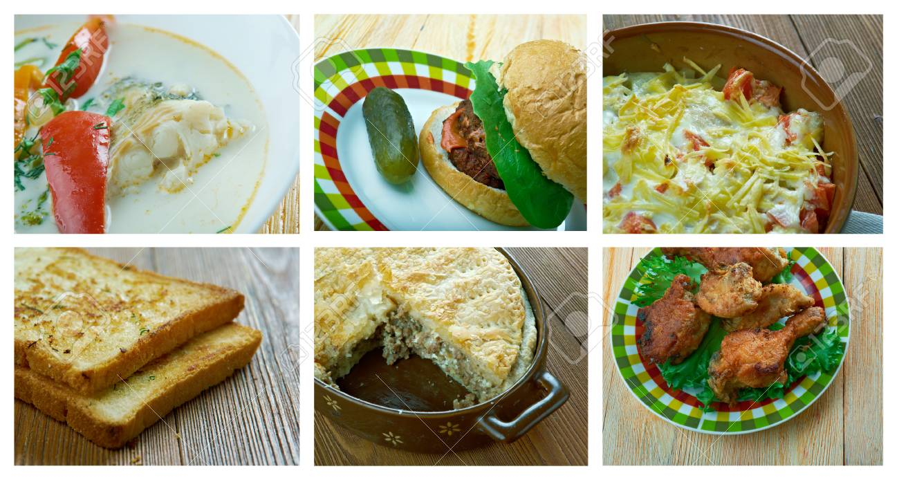 L\'alimento Ha Impostato La Cucina Americana Foto Royalty Free ...