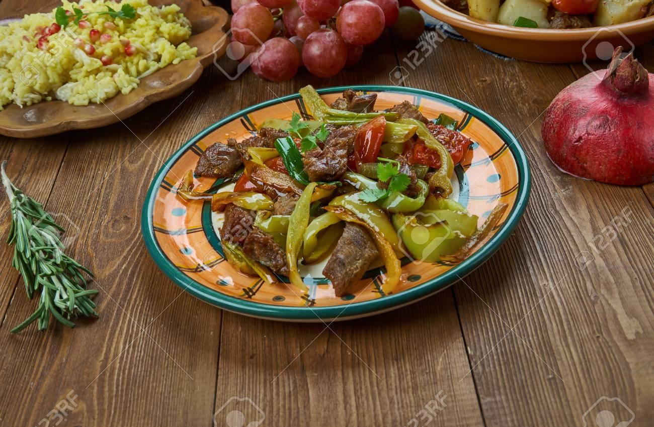 Inspiration Cuisine En U ker-u-sus , armenian cuisine, dish made with fried beef skirt..