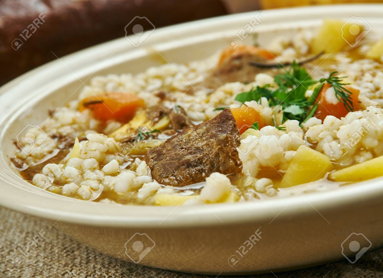 Scotch Broth Illing Soup Barley Stewing Or Braising Cuts Of Lamb