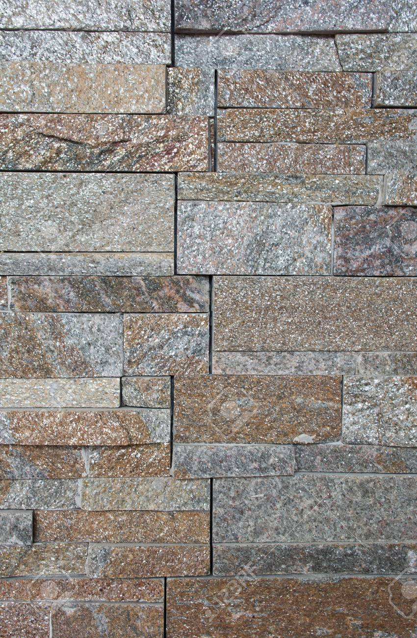 Soft Focused Picture Of Natural Stone Facade Wall Tiles Texture Stock Photo