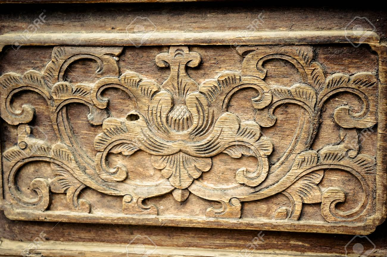 Wood carving patterns on ancient chinese architecture stock photo