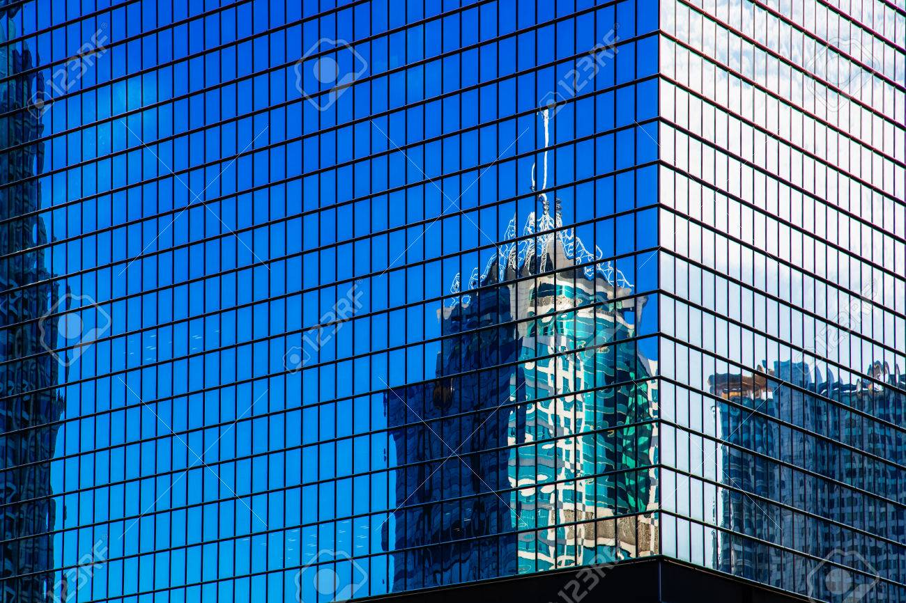 City High Rise Building Glass Curtain Wall Stock Photo