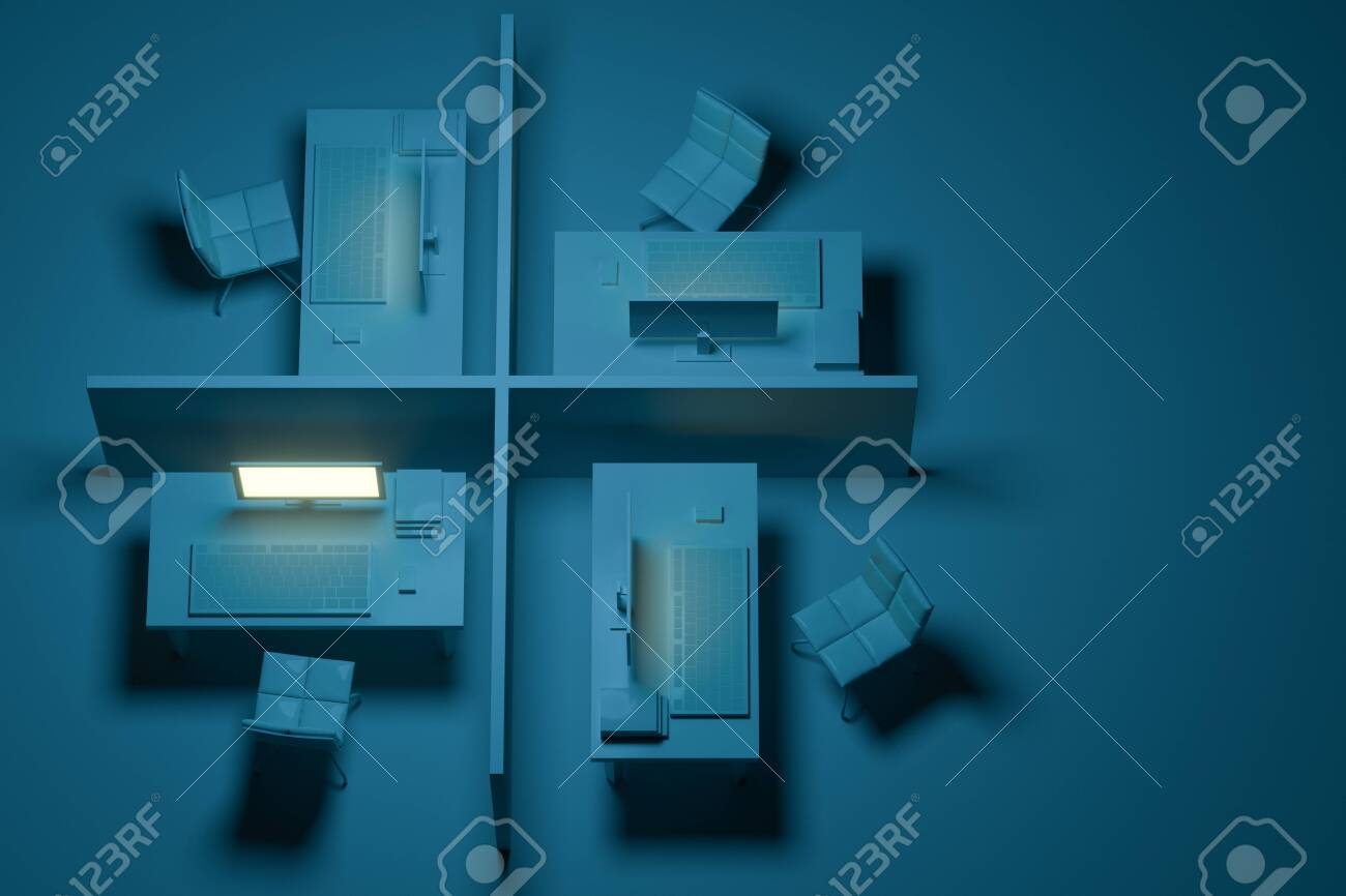 Office Model With Dark Background Abstract Conception 3d Rendering