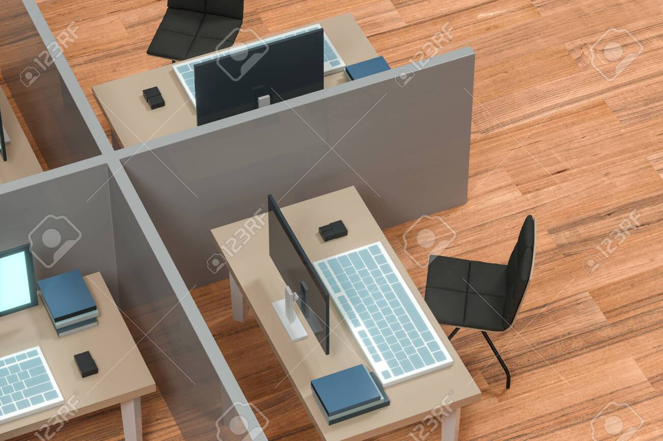 Office model with wooden floor,abstract conception,3d rendering. Computer digital drawing. - 140796345