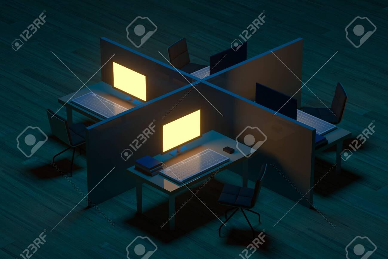 Office Model And Wooden Floor With Dark Background 3d Rendering