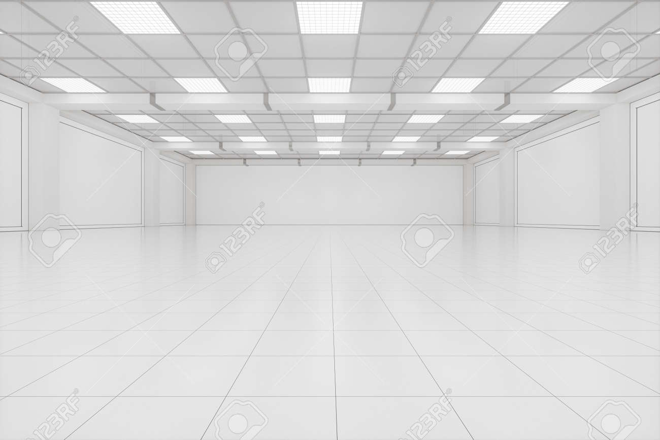 Capacious empty room, business background, 3d rendering. Computer digital drawing. - 147021930